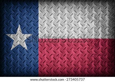 Texas flag pattern on diamond metal plate texture ,vintage style - stock photo