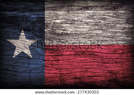 Texas flag pattern on wooden board texture ,retro vintage style - stock photo