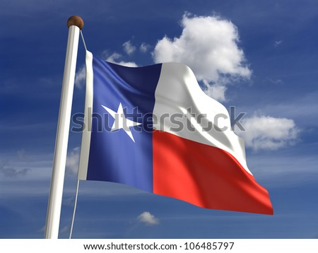 Texas flag (with clipping path) - stock photo