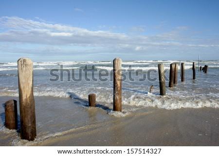 Texas Gulf coast beach near Corpus Christi after a storm. - stock photo