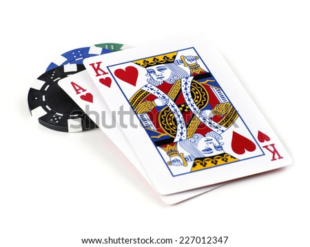 Texas Hold'em Best Hand (Ace with King) with poker chip isolated on white background - stock photo
