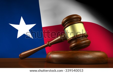 Texas law, legal system and justice concept with a 3d render of a gavel on a wooden desktop and the Texan flag on background. - stock photo