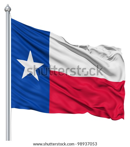 Texas national flag waving in the wind - stock photo