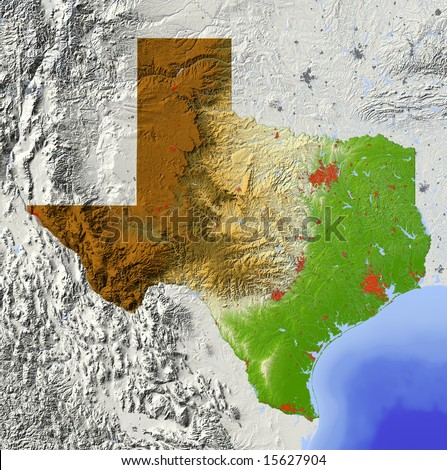 Texas. Shaded relief map, with major urban areas and rivers, surrounding territory greyed out. Colored according to elevation. Clipping path for the state area included. Data source: NASA - stock photo
