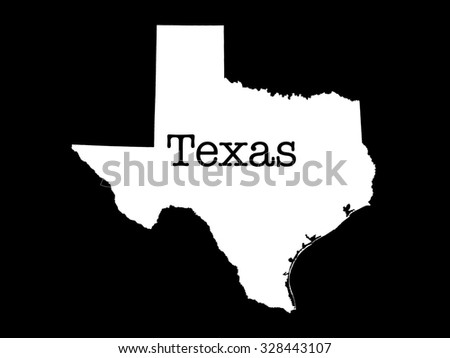 Texas state outline illustration, white state on black background with matching text - stock photo