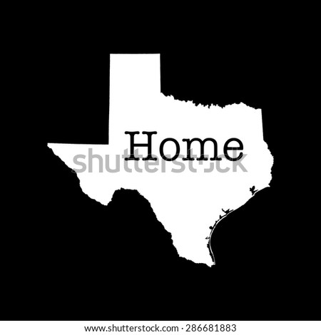 """Texas State outline, white on black with text """"home"""" inserted - stock photo"""