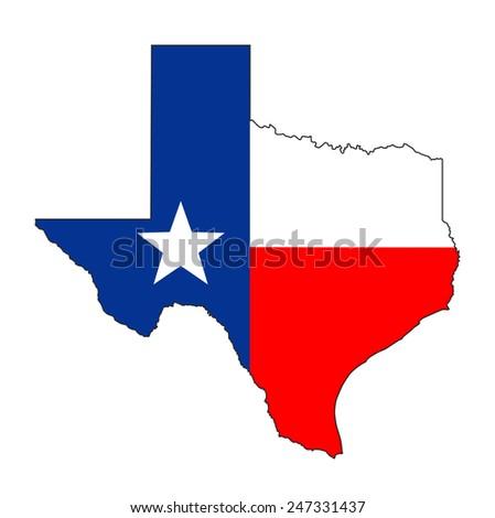 texas state usa national flag map shape illustration - stock photo