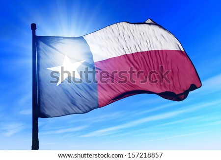 Texas (USA) flag waving on the wind - stock photo