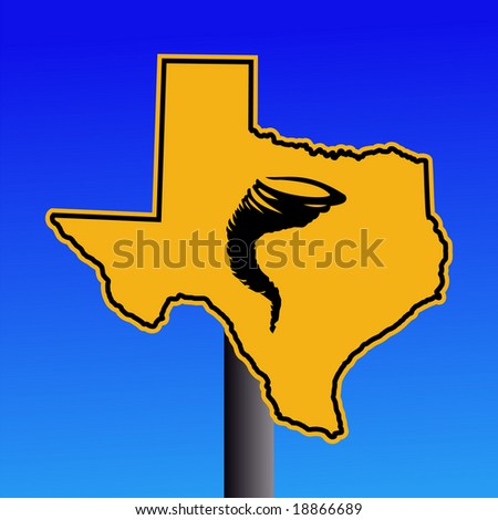 Texas warning sign with tornado symbol on blue illustration JPG - stock photo