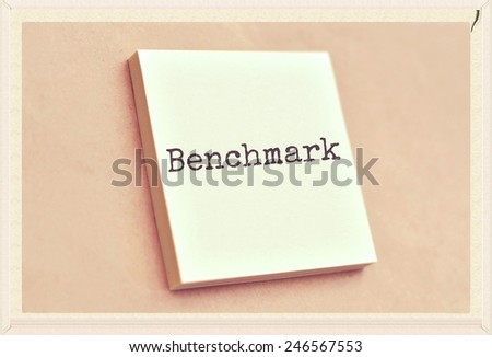 Text benchmark on the short note texture background - stock photo