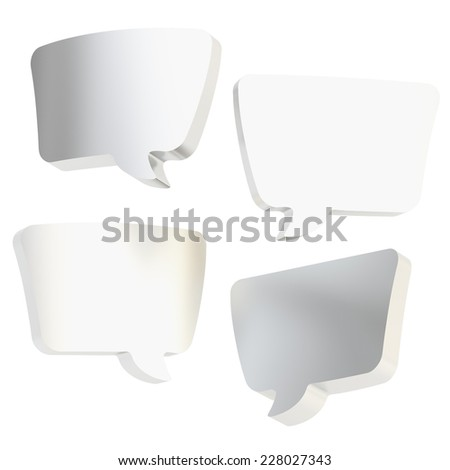 Text bubble chrome silver dimensional shapes isolated over the white background, set of four foreshortenings - stock photo