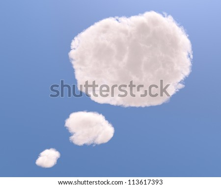 Text bubble cloud shape, isolated on white background - stock photo