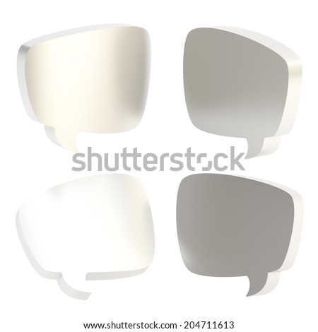 Text bubble dimensional silver shapes isolated over the white background, set of four foreshortenings - stock photo