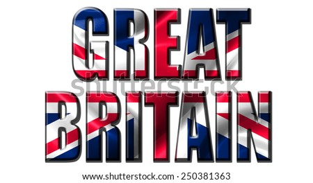 Text concept with Great Britain waving flag - stock photo