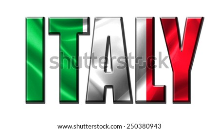 Text concept with Italy waving flag - stock photo