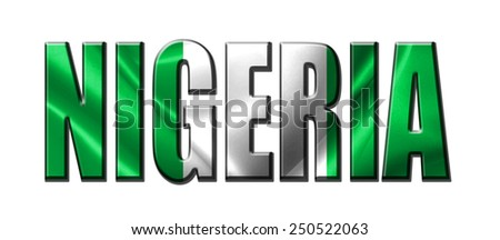 Text concept with Nigeria waving flag - stock photo