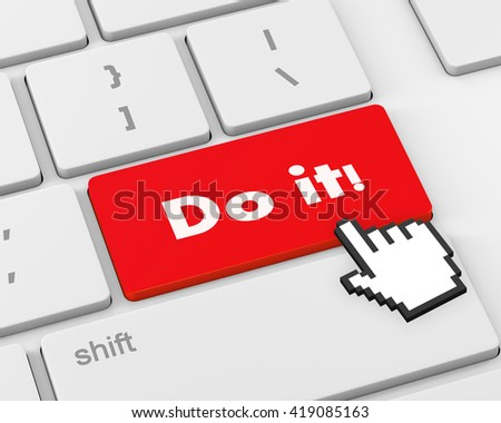 Text do it button, 3d rendering - stock photo