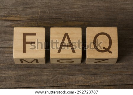 text FAQ on a wooden cubes - stock photo