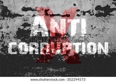 Text for Anti Corruption on grunge background for any design - stock photo