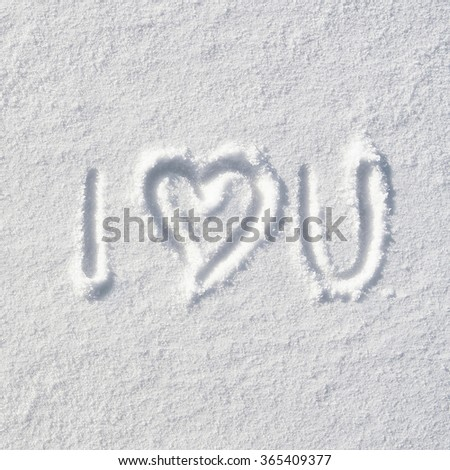 Text I LOVE YOU and heart hand written on snow background. Square valentines postcard template. - stock photo