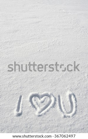 Text I LOVE YOU and heart hand written on snow background. Vertical valentines postcard template. Space for copy, lettering. - stock photo