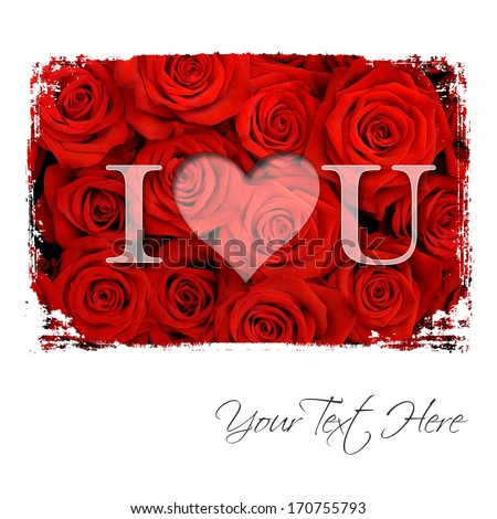 Text I love You over red roses - stock photo