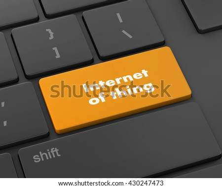 Text internet of thing button, 3d rendering - stock photo