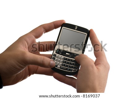 text messaging on a pda cell phone - stock photo
