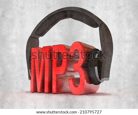 Text MP3 and handphones on white isolated background. 3d - stock photo