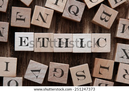 text of ETHIC on cubes - stock photo