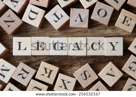 text of LEGACY on cubes - stock photo
