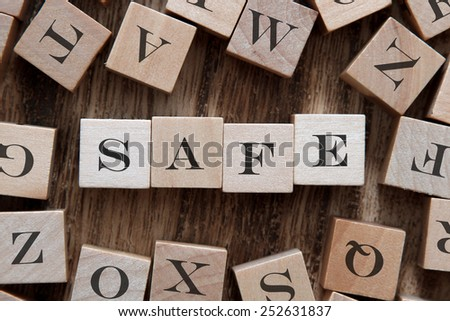 text of SAFE on cubes - stock photo