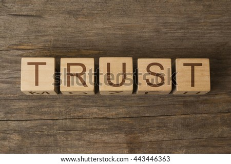 text of TRUST on a wooden cubes - stock photo