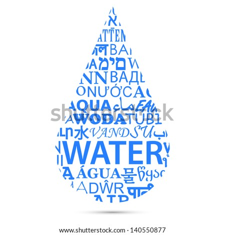 Text of Water Translations Forming a Drop - stock photo
