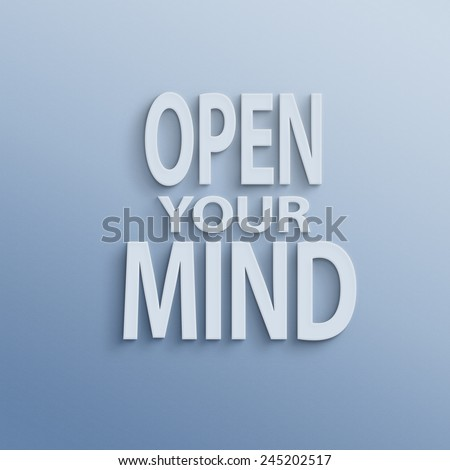 text on the wall or paper, open your mind - stock photo
