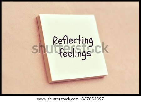 Text reflecting feelings on the short note texture background - stock photo
