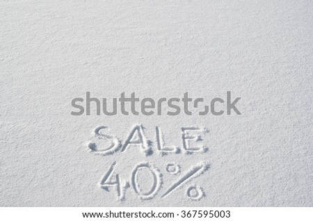 Text SALE 40% hand written on snow background. Horizontal banner template. Space for copy, lettering. - stock photo
