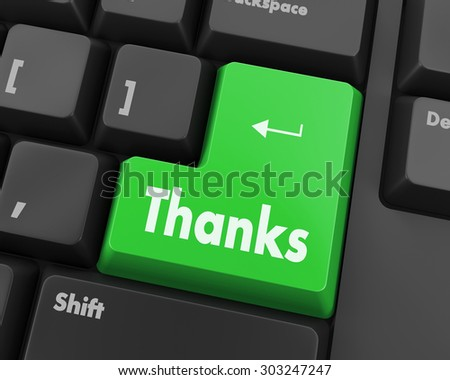 Text thanks button 3d render - stock photo