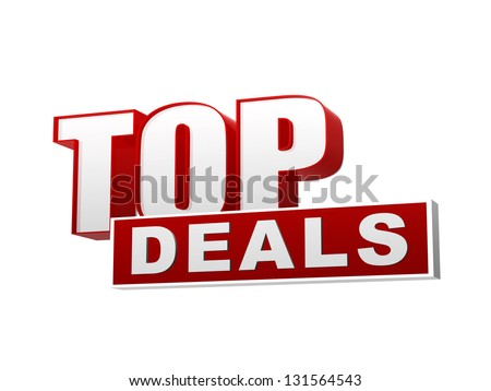 text top deals - 3d red white banner, letters and block, business concept - stock photo