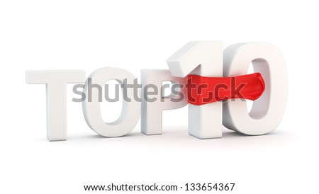 Text Top 10 with red fluttering fabric - stock photo