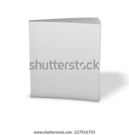 Textbook standing, 3d render with shadow, isolated on white. Empty cover book for your text. Template ready to use. - stock photo