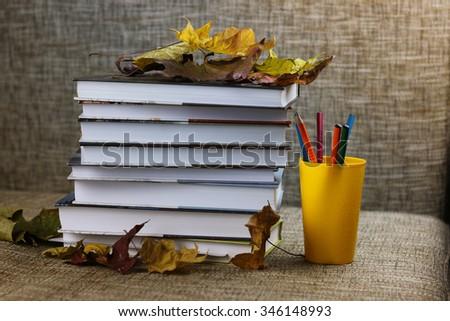 textbooks leaves school year - stock photo