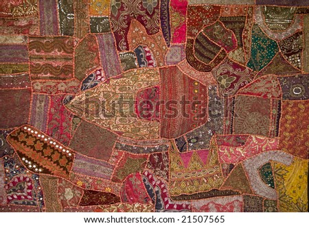 textile made from sari offcuts antique - stock photo
