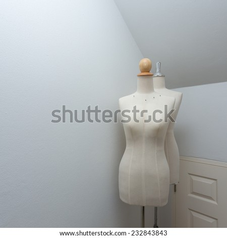 textile mannequin cloth female dummy in the room - stock photo