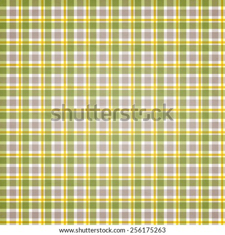 textile plaid background in green, white, yellow  - stock photo
