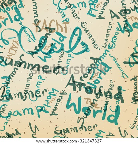 Textile seamless pattern of words on the subject of travel and summer holiday - stock photo