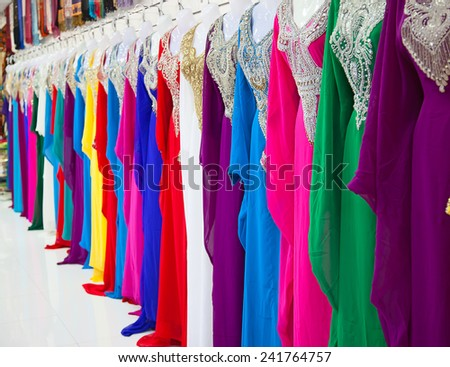 Textile souk (market) in Dubai, United Arab Emirates - stock photo