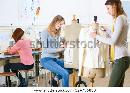 Textiles class - stock photo