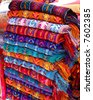 textiles for sale in a market in chiapas, mexico - stock photo