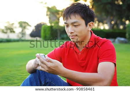 texting messages on phone - stock photo